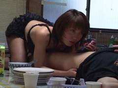 Sexy Mira Sugihara kitchen oral sex
