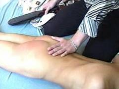 Sexy Blonde Paddle Spanking